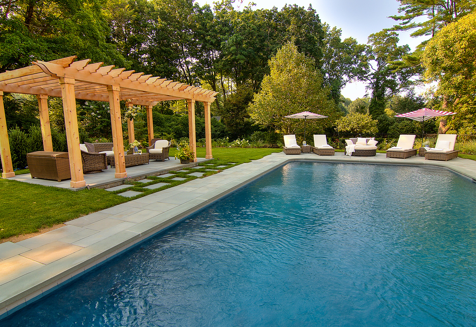 Relaxing outdoor entertaining area with gunite pool.