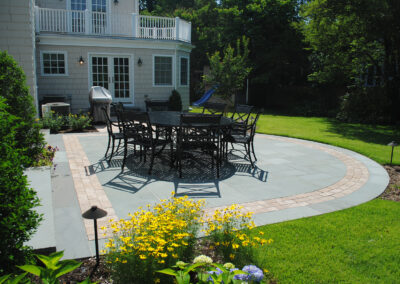 random rectangular bluestone patio, outdoor entertaining, rear terrace, manhasset