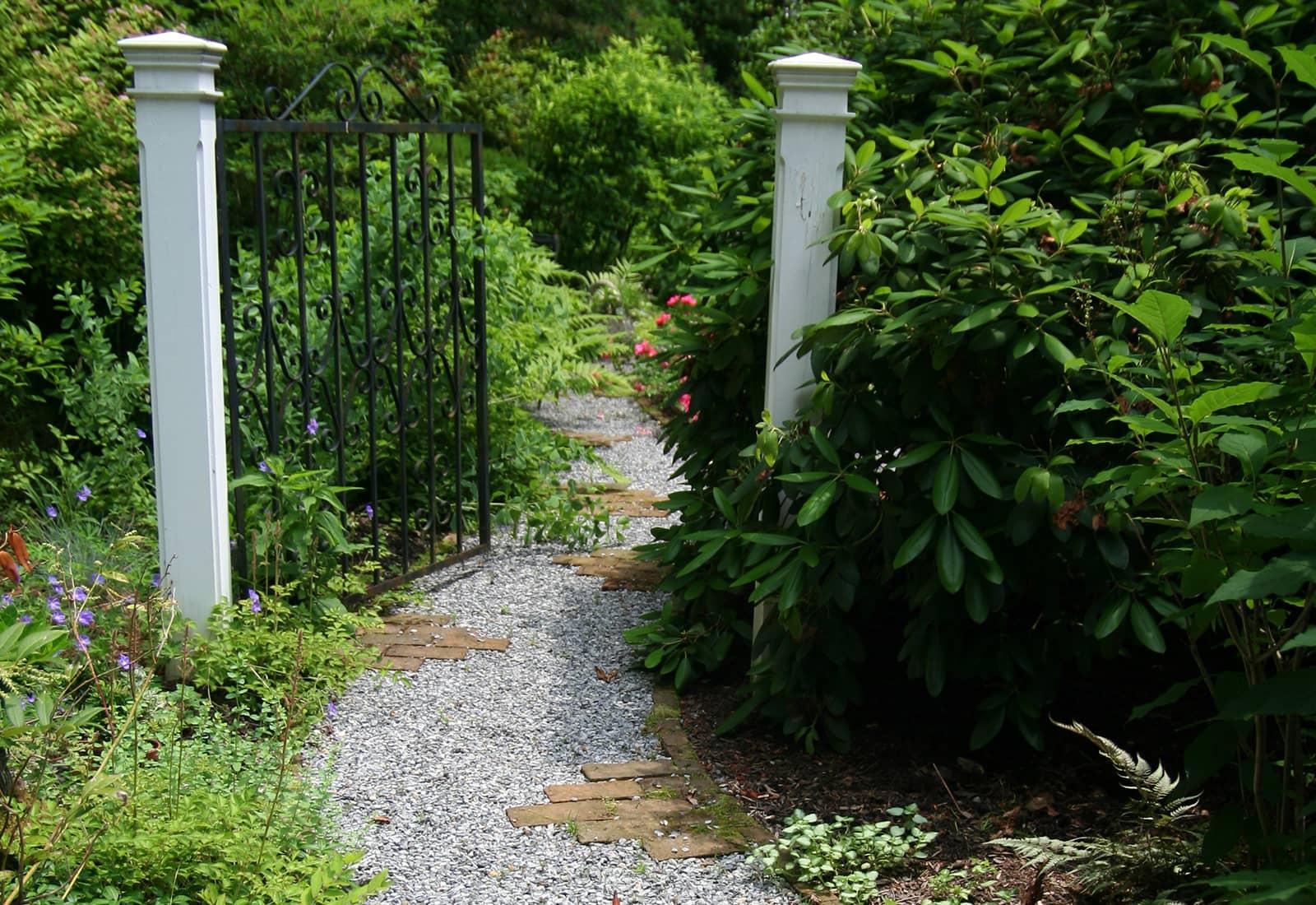 Brick and Pebble Garden Path
